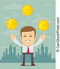Man with coins with different currency symbols - Cartoon...