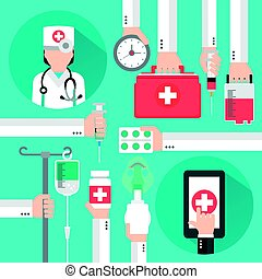 Medical online design flat with women doctor.Vector illustration