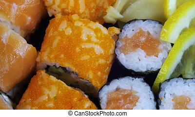 Japanese Sushi Rolls close-up is Moving