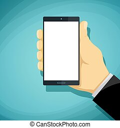Man holds in his hand smartphone with a white screen. Stock Vect