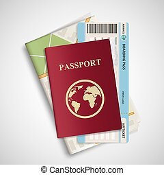 Passport with airplane ticket and map. Travel concept background