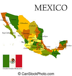 Mercator map of Mexico and flag - Mexico, United States of....