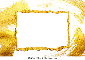 Abstract gold painted frame on a white and gilded background with place for your text