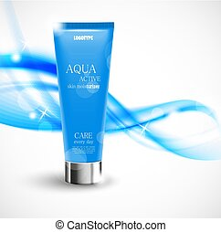 Skin moisturizer cosmetic design template with blue...