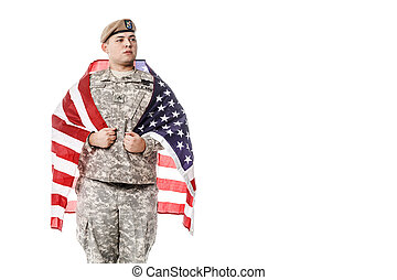 US Army Ranger with american flag - Army Ranger from Special...
