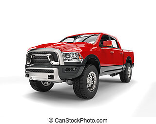 Powerful red modern pick-up truck