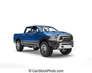 Dark blue modern pick up truck - studio shot