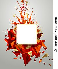 Geometric abstract banner with bright red color and gold texture. Modern triangular formed by artistic blots.