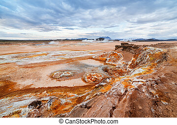 Soil erosion in the Namafjall geothermal valley in Iceland -...