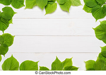 Decorative frame of green leaves - Decorative frame of...