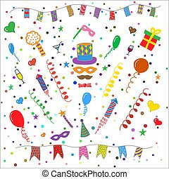 Birthday party symbols collection - Birthday party hand...