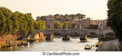 Bridge over Tiber river - Rome, Italy