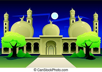Islamic Mosque at Night Time - A vector illustration of...
