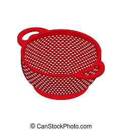 Colander isolated isometry. Pastafarianism cap. Cooking...