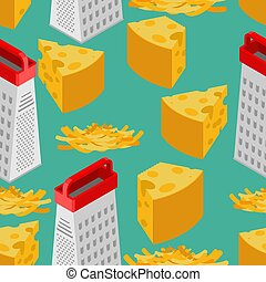 Grated cheese and grater seamless pattern. Food background. Ingredients texture