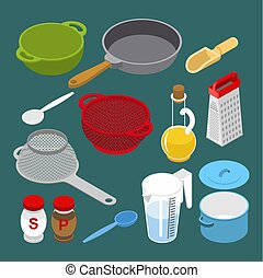 Ingredients and utensils set isometry. Grater and colander....