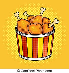 Fast food chicken legs bucket vector illustration - Fast...