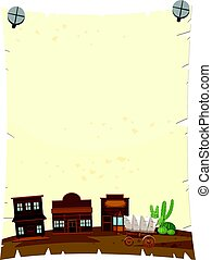 Paper template with western town in background