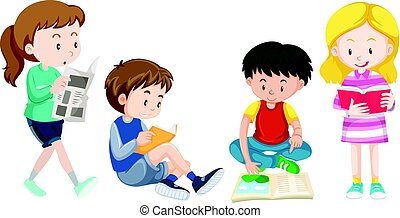 Four kids reading books