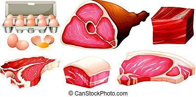 Different types of fresh meat illustration