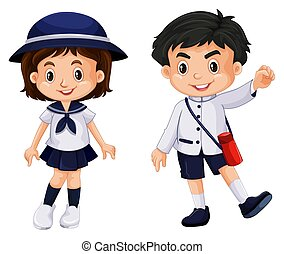 Japanese boy and girl in school uniform illustration