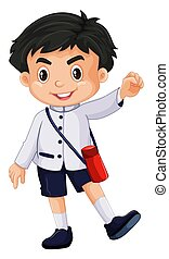 Japanese boy in school uniform illustration