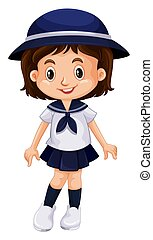 Young kid in school uniform illustration