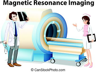 Doctor and nurse working with magnetic resonance imaging machine