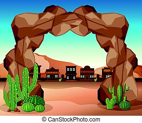 Western town with rock entrance illustration