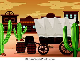 Western town scene with wooden wagon illustration