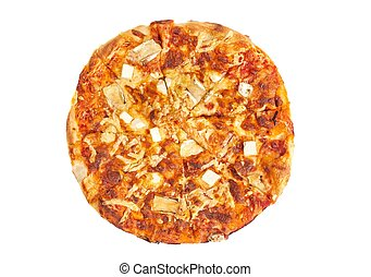 Whole pizza on white - Pizza with various cheese toppings