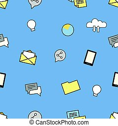Set of internet and technologies icons. Seamless pattern background