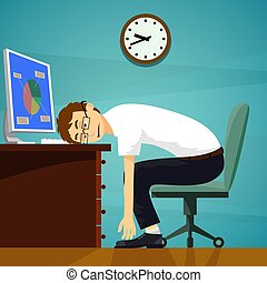 Tired worker sitting at desk with computer. Stock vector illustration.