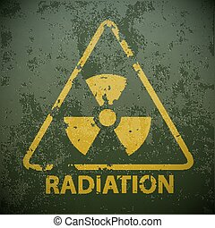 Yellow warning sign for radioactivity. Stock vector...
