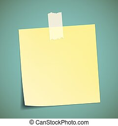 Yellow sticker pasted to the wall with adhesive tape. Stock...