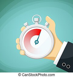 Man holds in his hand a sports stopwatch. Stock Vector cartoon i