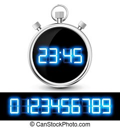 Icon watch with a digital display. Set of neon numbers....