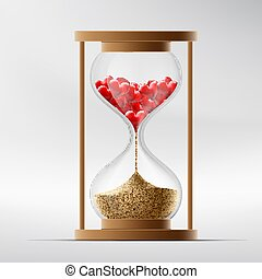 Hourglass with human hearts. Disease a myocardial infarction...