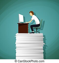 Man sitting at the workplace on a pile of paper. Stock...
