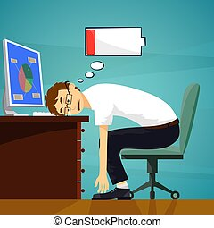 Tired worker in the workplace. Low battery charge. Stock...