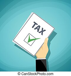 Man holds in his hand a tax declaration. Stock Vector cartoon il