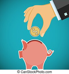 Human hand with coin and piggy bank. Investments and savings. St
