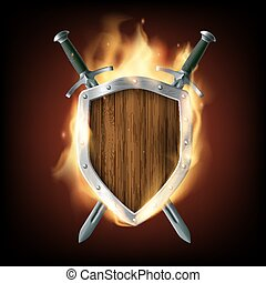 Icon coat of arms, a wooden shield with swords on fire. Stock ve