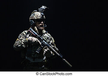Army Ranger in field Uniforms - Bearded soldier in Combat...