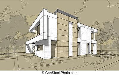 3d rendering sketch of modern cozy house. - 3d rendering...