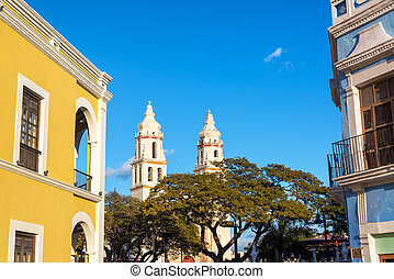 Cathedral and Colonial Architecture - Cathedral of Campeche,...