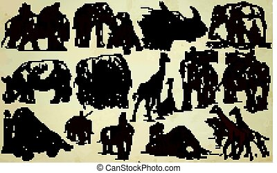 BIG and HEAVY ANIMALS - An hand drawn vector pack, line art