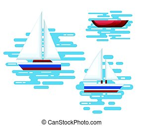 Illustration of different kind of boats. Set of little boats and buoys with blue sea background and isolated on white. Side view illustration.