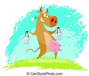 Cow with pails - Vector illustration of a cow with pails