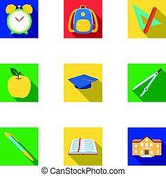 Set of pictures about the school. Study training. Supplies for school.Outfit of the student. School and eduacation icon in set collection on flat style vector symbol stock illustration.